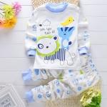 ชุดนอนเด็กเล็ก เสื้อแขนยาว+กางเกงขายาว ลายการ์ตูนสิงโตสีฟ้า สำหรับเด็ก 1-3 ปี