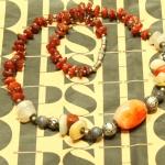 SALES!!! ANTIQUE CHINESE STONE NECKLACE - สร้อยหินสี ร้อยประดับสลับกับเงิน งาน HAND MADE