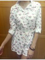 เสื้อ+กางเกงลายดอกไม้