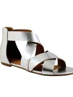 SALES!!! EUROPE BRAND METALLIC SILVER ROMAN SANDALS FLAT SHOES/ FLAT CROSS - รองเท้าหนังสีเงินเมทาลิก สินค้านำเข้าอย่างดี