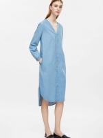 H&M COS V NECK DENIM SHIRT DRESS เดรสยีนส์ แขนยาว