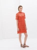 ZARA RED CROCHET DRESS ชุดเดรส ชุดแซก ชุดกระโปรง ZARA เเขนสั้น ผ้าลูกไม้สีแดง ไซส์ M พร้อมส่ง
