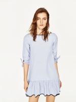 ZARA STRIPED SHORT DRESS เดรสสั้น ZARA ลายขวางสีฟ้า กระโปรงสั้น