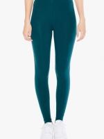 H&M COTTON SPANDEX LEGGINGS เสื้อผ้าแฟชั่นพร้อมส่ง กางเกงเลคกิ้ง ขายาว สีเขียวหัวเป็ด DARK GREEN -Free size