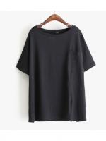 KOREAN POCKET SHORT SLEEVE T-SHIRT เสื้อยืดผู้หญิง คอกลม เเขนสั้น สีดำ งานเกาหลี