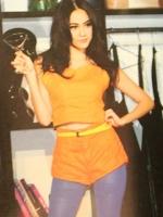 SALES!!! HIGH-WAISTED SHORTS กางเกงขาสั้นผู้หญิงเอวสูง ตีเกร็ดหน้า-หลัง ซิปหน้า ผ้าสไตล์หนังกลับ สีส้ม ไซส์ S พร้อมส่ง