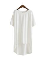 KOREAN SHORT SLEEVE T-SHIRT เสื้อยืดผู้หญิง ตัวยาว คอกลม เเขนสั้น สีขาว งานเกาหลี