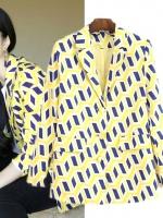 SALES!!! EUROPE YELLOW GEOMETRIC DIAMOND SLIM SUIT/ JACKET/ BLAZER - เสื้อสูทสีเหลือง ลาย geometric สีน้ำเงิน ดีไซต์สไตล์งานไฮเเบรนด์