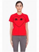 Comme Des Garcons Play Heart Outlines T-Shirts เสื้อยืด PLAY เสื้อกอม เเขนสั้น คอกลม สีแดง ลายหัวใจ ไซส์ M พร้อมส่ง