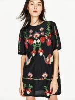 ZARA EMBROIDERED SHORT DRESS เดรสสั้น ด้ายปัก เเขนสั้น สีดำ ปักลายดอกไม้