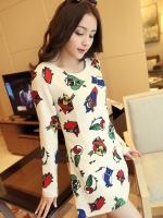 SALES!!! KOREAN OWL PRINT DRESS เสื้อผ้าผู้หญิงนำเข้า ชุดเดรสเกาหลี เดรสสั้น เเขนยาวสีครีม ลายนกฮูก เเต่งกระเป๋าหน้า งานเกาหลี พร้อมส่ง