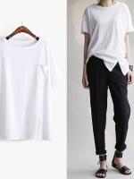 KOREAN POCKET SHORT SLEEVE T-SHIRT เสื้อยืดผู้หญิง คอกลม เเขนสั้น สีขาว งานเกาหลี