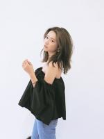KOREAN STYLENANDA STRAPLESS CRIMP SHIRT เสื้อเปิดไหล่สีดำ งานเกาหลี พร้อมส่ง