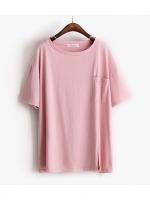 KOREAN POCKET SHORT SLEEVE T-SHIRT เสื้อยืดผู้หญิง คอกลม เเขนสั้น สีชมพู