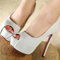 [พร้อมส่ง] ไซส์ 39 รองเท้าส้นสูงไซส์ใหญ่ เปิดปลายเท้า สีเงิน - KR0351