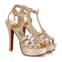 ** ไซส์ 42 ** รองเท้าส้นสูง 5 นิ้ว สีทอง แบบเส้น พื้นคิวสีแดง รัดข้อเท้า สวยสง่ามาก