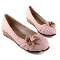 ** ไซส์ 42 43 ** รองเท้าส้นเตารีดเตี้ย สูง 1 นิ้ว สีชมพู แบบน่ารัก ใส่สบาย งานเกาหลีเกรดเอ รองเท้าไซส์ใหญ่ รองเท้าส้นเตี้ยไซส์ใหญ่