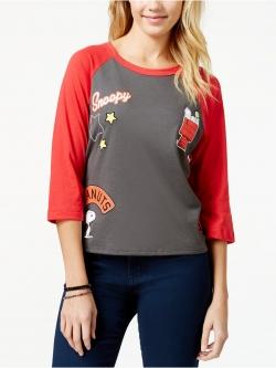"""MIGHTY FINE'S SNOOPY """"PEANUTS"""" BASEBALL TEE เสื้อผ้าผู้หญิงนำเข้าพร้อมส่ง เสื้อยืดผู้หญิง สีเทา เเขนยาวสีเเดง คอกลม ลายการ์ตูนสนูปปี้"""