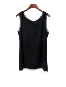 KOREAN HI-END COTTON VEST เสื้อเเขนกุด สีดำ ผ้ายืดเกาหลี กุ๊นขอบผ้าชีฟอง พร้อมส่ง