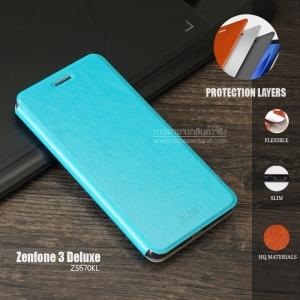 เคส Zenfone 3 Deluxe (ZS570KL) เคสหนัง + แผ่นเหล็กป้องกันตัวเครื่อง (บางพิเศษ) สีฟ้าอมเขียว