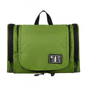 กระเป๋าใส่อุปกรณ์ห้องน้ำ ใส่อุปกรณ์อาบน้ำ ใส่ขวดได้ มีกระเป๋าใส่ของเพิ่มซ้าย-ขวา แขวนได้ สำหรับเดินทาง ท่องเที่ยว (สีเขียว)