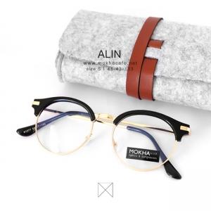 ALIN - black gold แว่นทรง cateyes กว้าง 133 มม.(size S)