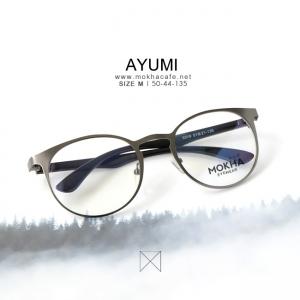 AYUMI - gray กรอบแว่นโลหะ กว้าง 135 มม. (size M)