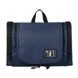 กระเป๋าใส่อุปกรณ์ห้องน้ำ ใส่อุปกรณ์อาบน้ำ ใส่ขวดได้ มีกระเป๋าใส่ของเพิ่มซ้าย-ขวา แขวนได้ สำหรับเดินทาง ท่องเที่ยว (สีน้ำเงิน)