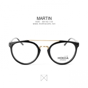 MARTIN - gold black แว่นทรง double bridge กว้าง 133 มม.(size S)