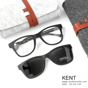 KENT - matte black (ดำด้าน) แว่นคลิปออนแม่เหล็ก กรอบแว่น + Clip on กันแดด (size M)