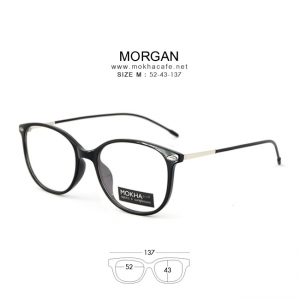 MORGAN - black แว่นตา TR90 ยืดหยุ่น ขาสปริง กว้าง 137 มม.(size M)