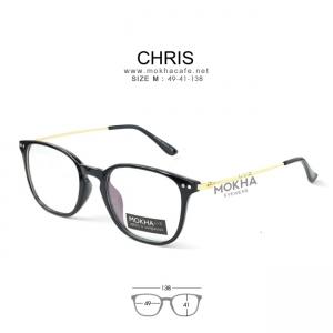 CHRIS - gold black แว่นตาทรงเหลี่ยม TR90 กว้าง 138 มม. (size M)