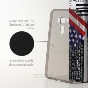เคส Zenfone 3 Deluxe (ZS570KL) เคสนิ่ม Super Slim TPU บางพิเศษ พร้อมจุด Pixel ขนาดเล็กด้านในเคสป้องกันเคสติดกับตัวเครื่อง สีดำใส