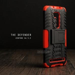 """เคส Zenfone GO 5.5"""" (ZB551KL DTAC Edition เท่านั้น) เคสบั๊มเปอร์ Defender กันกระแทก มีขาตั้งในตัว สีแดง"""