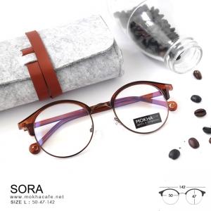 SORA - brown แว่นตาวินเทจ กรอบโลหะ กว้าง 142 มม.(size L)