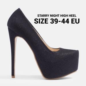 รองเท้าส้นสูงไซส์ใหญ่ 40 EU Starry Night สีดำ รุ่น KR0023