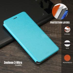 เคส Zenfone 3 Ultra (ZU680KL) เคสหนัง + แผ่นเหล็กป้องกันตัวเครื่อง (บางพิเศษ) สีฟ้า