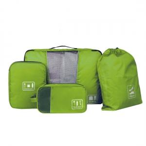 Ecosusi ชุดจัดกระเป๋าเดินทาง 4 ใบ กันน้ำ พกพาสะดวก ใส่เสื้อผ้า, อุปกรณ์ไอที, อุปกรณ์น้ำ และรองเท้า (สีเขียว)