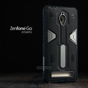 เคส Zenfone GO (ZC500TG) เคส HYBRID BUMPER 2 ชั้น (นิ่ม+แข็ง) พร้อมขอบกันกระแทก สีดำ - สีเงิน