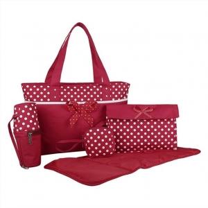 Ecosusi กระเป๋าคุณแม่ 5 ใบ ลายจุดน่ารัก มีโบว์ กระเป๋าสัมภาระคุณแม่ ใส่ผ้าอ้อม ใบใหญ่ ช่องเยอะ แข็งแรงทนทาน