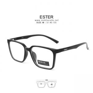 กรอบแว่น ESTER - black แว่นทรงเหลี่ยม กว้าง 135 มม. (size M)