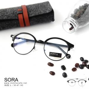 SORA - black แว่นตาวินเทจ กรอบโลหะ กว้าง 142 มม.(size L)
