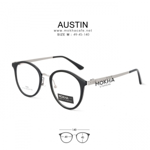 AUSTIN - black silver แว่นตา TR90 กรอบเหนียว ทนทาน ขาโลหะ กว้าง 140 มม.(size M)