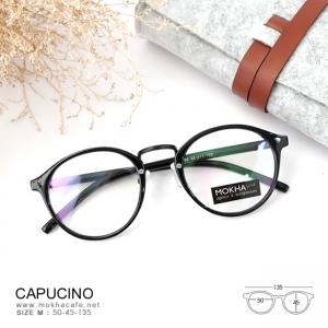 CAPUCINO - black กรอบแว่นทรงหยดน้ำ กว้าง 135 mm. (size M)