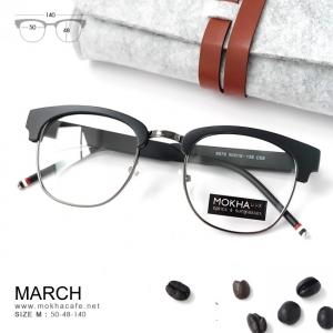MARCH - gray black แว่นตาวินเทจ กรอบโลหะ กว้าง 140 มม.(size M)