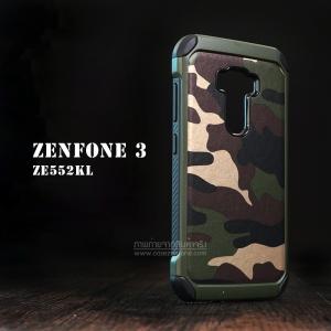 เคส Zenfone 3 ( ZE552KL ) 5.5 นิ้ว กรอบบั๊มเปอร์ กันกระแทก Defender ลายทหาร (Camouflage Series) สีเขียว