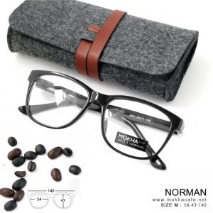 NORMAN - black แว่นทรงเหลี่ยม ULTEM กว้าง 140 มม. (size M)