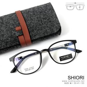 SHIORI - silver black แว่น TR90 ทรงเหลี่ยม ขาใส กว้าง 135 มม. (size M)