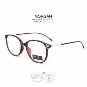 MORGAN - tortoise แว่นตา TR90 ยืดหยุ่น ขาสปริง กว้าง 137 มม.(size M)