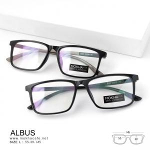ALBUS - black แว่นทรงเหลี่ยม TR90 กว้าง 145 มม. (size L)